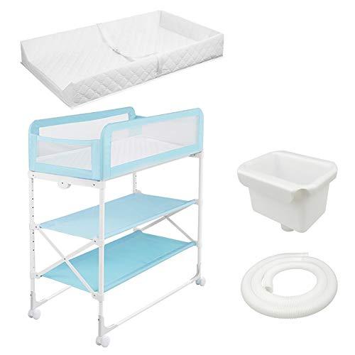 Beweglicher Wickeltisch, 3-lagig, Faltbare Baby-Pflegestation, Multifunktionale Baby-Badestation, Kinderbett Höhenverstellbar -