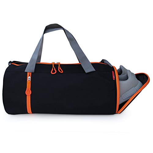 SFANE Duffel Gym Bag,Shoulder Bag for Men & Women with Shoe Compartment (Orange,Black)