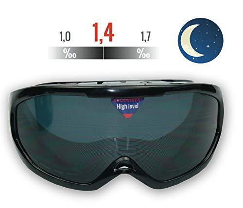 ORIGINAL ALCOVISTA® Rauschbrille - Alkoholbrille NachtVersion - Simulation zwischen 1,0 ‰ und 1,7 ‰ - Verkehrswacht, Schule, Polizei, Alkoholprävention,