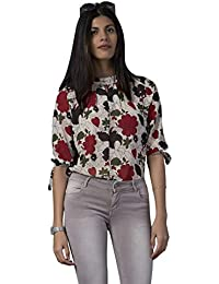 e281292db1f5a Hibiscus Women s Floral Patterned Round Mandarian Collar Half Sleeves Red  Georgette Top
