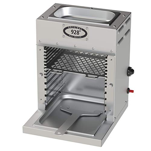 F&F 928°C Original Grill Röster. E35T. 3,5 kW. Doppelwandiger Oberhitze-Grill mit Hochleistungs-Infrarot-Brenner, Piezo Zündung, verlängerter Fett-Auffangwanne und Warmhalte-Schale (ca. 80°C) Oben.