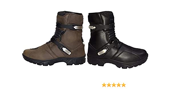 PROFIRST Genuine Leather Waterproof Motorbike Short Half Mid Ankle Off Road Boots Adventure Touring Motorcycle Shoes Casual Racing Sports Touring EU 43 UK 9 Full Black