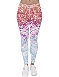 HCMONSTER Leotardos Moda para Mujer Legging Azteca Impresión Redonda Slim  Cintura Alta Leggings Pantalones Mujer d2fb4814e881
