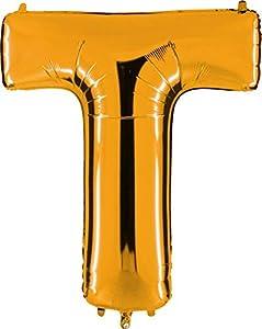 Grabo 392G-P Letra T Globo Superloon paquete individual, largo-40 pulgadas, color, oro, talla única