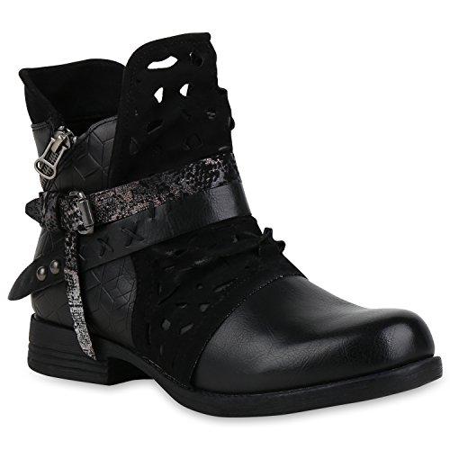 Damen Stiefeletten Biker Boots Nieten Cut Outs Leder-Optik Schuhe 155148 Schwarz 36 Flandell