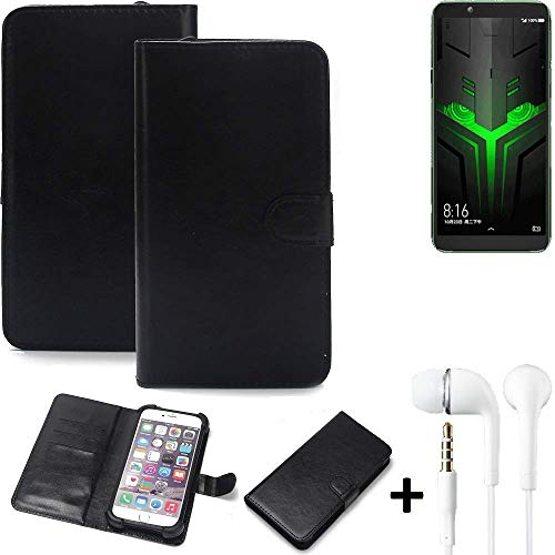 K-S-Trade Wallet Case Handyhülle für Xiaomi Blackshark Helo Schutz Hülle Smartphone Flip Cover Flipstyle Tasche Schutzhülle Flipcover Slim Bumper schwarz, 1x Ear Headphones