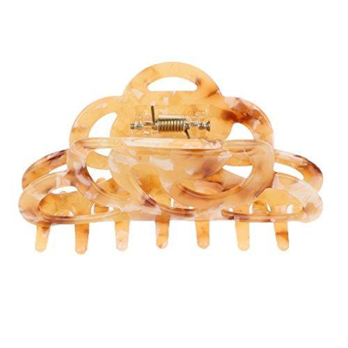 F Fityle Frauen Vintage Haargreifer aus Acryl Haarklammer Haarschmuck Haarkralle Haarspange Haarzwicker Hair Claw Spange Schmuck - Beige