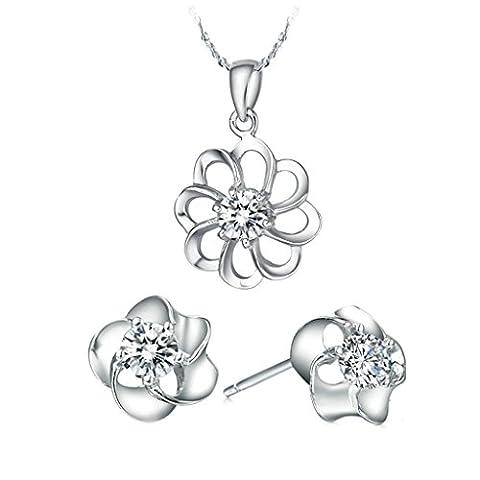 anazoz Fashion Jewelry simple personnalité plaqué or blanc de femmes bijoux (Collier Boucle d'oreille) Blanc Fleur Autriche