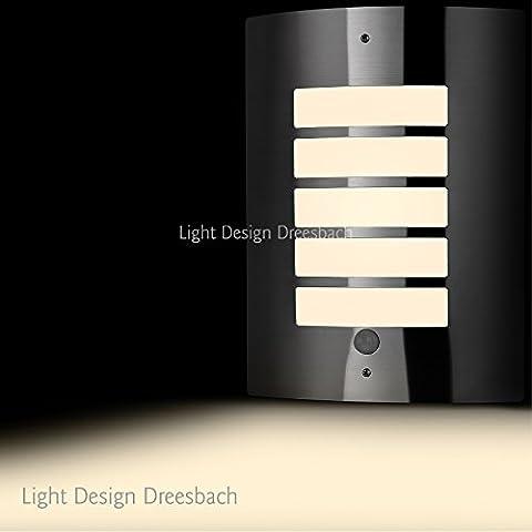 Set di 10 in acciaio inox lampada da parete esterno lampada con sensore di movimento e LED COB 6/12 Watt 580/1100 lumens luce bianca calda E27, 12 Watt, E27 230 voltsV