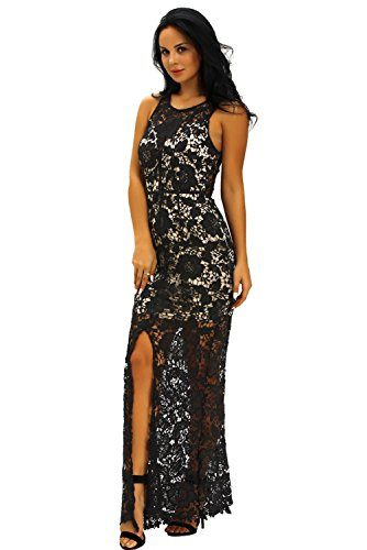 Neue Damen Sheer Rückseite schwarz & Nude Crochet Floral Spitze Langes Abendkleid Party Ball Cocktail Cruise Kleid Größe UK S UK 8EU 36 (Schwarz Spitze Mermaid Prom Kleid)