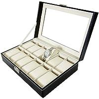 Todeco - Caja de Relojes, Caja de Almacenamiento de Relojes y Pulseras - Tamaño: 30 x 20 x 8 cm - Material de la caja: MDF - 12 relojes y pantalla, Negro/Beige