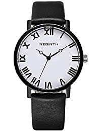 FUWUX Elegante Reloj de Pareja para Mujer con números Romanos Reloj de Cuero Negro Casual Dignificado