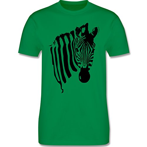 Shirtracer Wildnis - Zebra - Herren T-Shirt Rundhals Grün