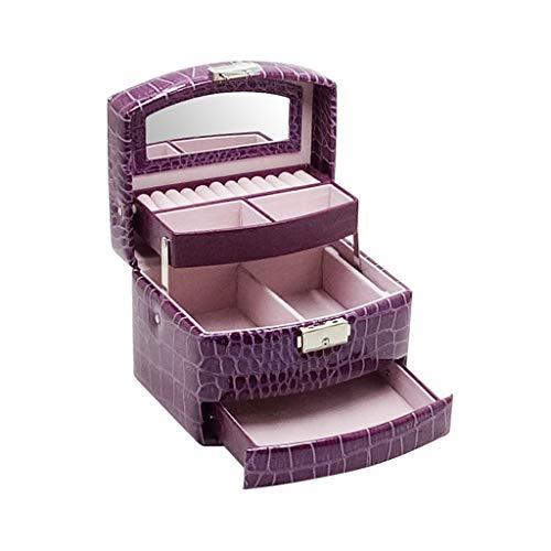 Tangerniu Schmuck Organizer 3-lagiger Schubladenverschluss, Haushaltssilber Empfangsbox Mit Spiegel, Geeignet für Ohrnägel Armbänder und Ringe (Color : Purple)