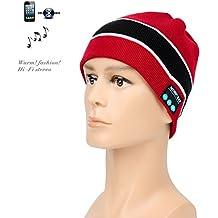 Nuevas Tendencias Micrófono inalámbrico de Bluetooth Beanie gorro de música con deportes de invierno essential Cap ¡, rosso