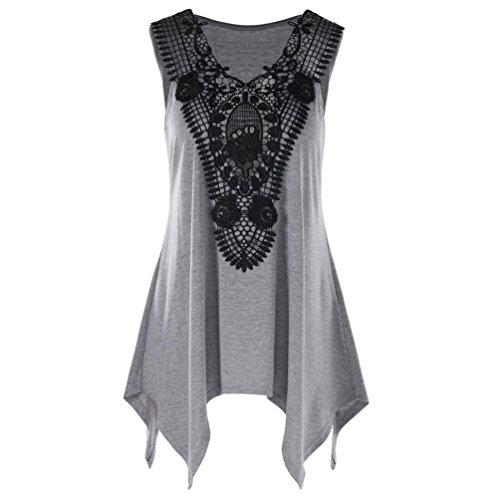 MRULIC Damen Frauen Ärmelloses Unregelmäßiges T-Shirt Plus Size V-Ausschnitt Lace Trim Tank Top T-Shirt(Grau,EU-48/CN-3XL) (Trim Bandeau Lace)