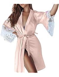 VJGOAL Moda Mujer Sexy Imitación Seda Kimono Encaje Costura Ropa Interior erótica Camisa Babydoll Lencería Cinturón Albornoz Ropa de Dormir