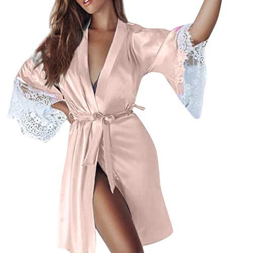 (Mitlfuny Damen Versuchung UnterwäSche,Frauen Sexy Silk Kimono Dressing Babydoll Spitze Dessous GüRtel Bademantel NachtwäSche)