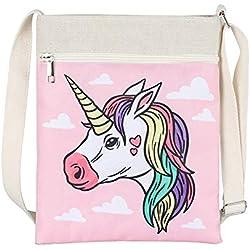 """Moda Unicornio Bolsa Impresa Lienzo Bandolera Bolsa Bolsa Monedero para niñas Mujeres Viaje Bandolera Bolsos 8.7""""x 10,6"""" Pulgada-Lindo Rosa"""