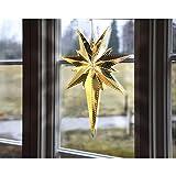 KAMACA Magisch leuchtender Stern Fenster - Licht Fensterbeleuchtung , sofort einsatzbereit , Farbe : Gold - aus Messing gefertigt - Größe 35 x 25 - , edel und hochwertig - Zuleitung weiß ca. 350 cm , für den Innen - Bereich geeignet , NEU aus dem KAMACA-SHOP - Herbst Winter Advent und Weihnachten