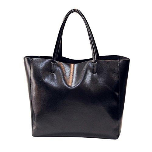 Mode Umhängetasche Sunday Frauen Messenger Bag Schultertasche Handtasche Totes Damen Elegant Reissverschluss Premium Kunstleder Shopper tasche groß (32cm, Schwarz)