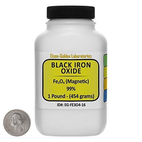 Black Iron Oxide [Fe3O4] 99% ACS Grade Powder 1 Lb in a Space-Saver Bottle USA by Eisen-Golden Laboratories -