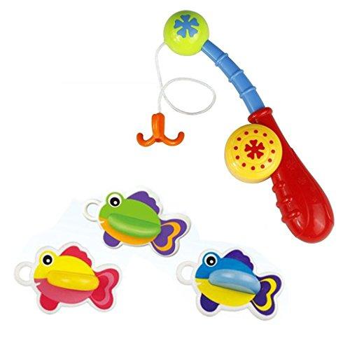 hmilydyk 4PCS SET Badespielzeug Angelspiel mit Punkten niedlicher Fisch und Angel Best Geschenk für Kinder Jungen Mädchen Badewanne Fun Time, Baby Lernen & Bildung Bad Toys
