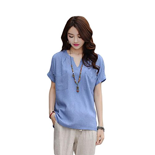 Zhuhaixmy Damen Baumwoll Leinentasche Kurzarm Shirts Loose Fit Casual T-Shirts Bluse Blue