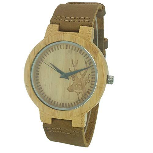 Mens Hirschkopf Design Buck Bambus Holz Uhren Holz Bambus Uhren Mit Leder Quarzuhr Als Geschenk F