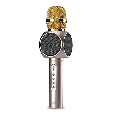 Wireless Microphone Portable Bluetooth Handheld Karaoke Machine à chanter Rechargeable Microphone MIC Player Speaker for Apple iPhone Android Smartphone Or PC, Home KTV Mariage de fête en plein air