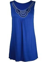 Purple Hanger - Débardeur Tunique T-shirt Long Femme Encolure Ronde Perles Clous Strass Sans Manche Grande Taille Neuf