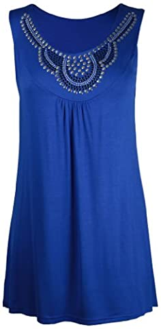 New Ladies Long Beaded Diamante Sleeveless T-Shirt Tops Womens Scoop Neck Stud Bead Vest Top Plus Size Royal Blue Size