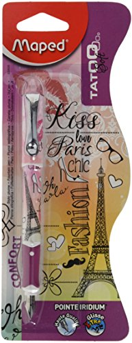 Maped CB22002500 -Stylo-plume rechargeable Rose Teen Rock Tattoo, pointe: M, Blanc/Rose