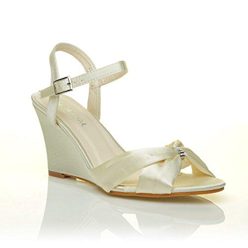 ANGEL Ivory Satin Wedge High Heel Strappy Bridal Shoes Size UK 6 EU 39