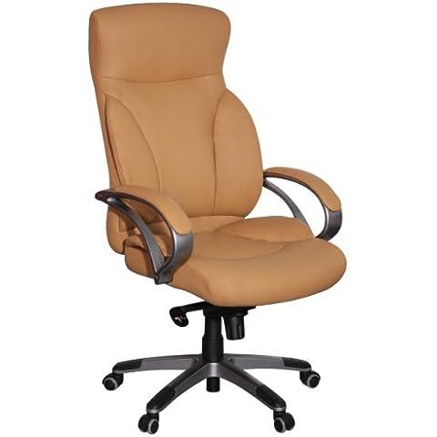 silla de oficina Amstyle BERLIN Caramelo X-XL-150 kg de carga silla de escritorio de cuero de imitaci—n de la funci—n ejecutiva silla de inclinaci—n silla giratoria tapizada con brazos Silla giratoria, respaldo ergon—mico ruedas de suelo duro