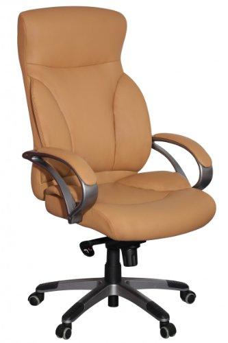 sedia da ufficio Amstyle BERLIN Caramel X-XL-150 kg di carico sedia similpelle esecutivo funzione sedia tilt sedia imbottita girevole con braccioli Sedia girevole schienale Rotelle pavimenti duri ergonomicamente