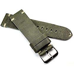 24mm Rio S1836Cowhide Military Style Bracelet Retro Look Quality Green Military Naval Strap Top Quality Strong