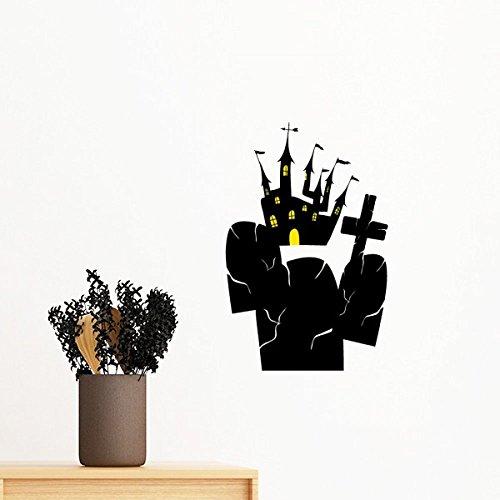 außerhalb Schloss Halloween-entfernbare Wand-Aufkleber-Kunst-Abziehbilder Wand-DIY Tapete Für Zimmer Aufkleber 35Cm ()