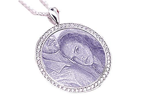 hjsadgasd Benutzerdefinierte Sterling Silber Bild und Text Anhänger Halskette Schmuck Valentinstag Geburtstagsgeschenk