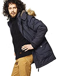 VEDONEIRE Mens Parka Jacket (3049 NAVY) blue winter coat faux fur hood