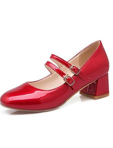 GS~LY Da donna-Tacchi-Formale / Casual-Tacchi-Quadrato-PU (Poliuretano)-Nero / Rosa / Rosso / Bianco white-us8.5 / eu39 / uk6.5 / cn40