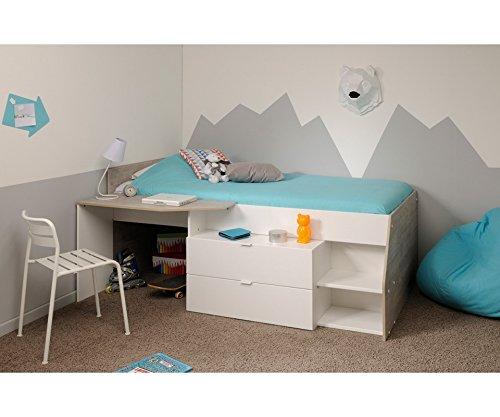 MILKY Jugendbett Kinderbett 120 x 60 cm mit 2 Schubladen und Schreibtisch,  Jugendzimmer Kinderzimmer, Spanplatte, weiß, 135 x 203 x 90 cm
