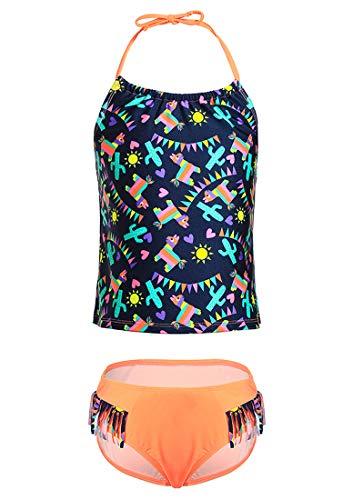 DUSISHIDAN Badeanzug Kinder, Zweiteiliger Bandage Bikinis für Mädchen Farbige Schlinge,Sonne-Muster 134-146 M(8-10) - 8 Größe Bikini Mädchen