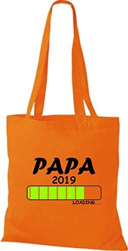 ShirtInStyle Stoffbeutel Baumwolltasche Loading PAPA 2019 Orange