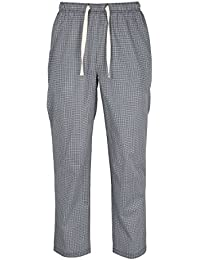 Ceceba Herren Lange Hose, Schlafhose, Pyjama Hose Baumwolle, Popeline, Blau, Melange