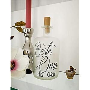 AScreativ Dekoflasche mit Beleuchtung – Beste Oma LED Leuchte Leuchtflasche Bottlelight Lichterkette Geschenk Flaschenlicht Homedeco modern