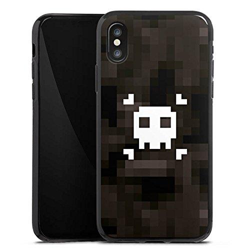 Apple iPhone X Silikon Hülle Case Schutzhülle Pixel Piraten Totenkopf Silikon Case schwarz
