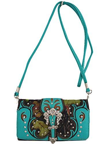 Blancho Biancheria da letto delle donne [antica foresta] borsa di cuoio elegante di modo Borsa Turchese Wallet-Turchese