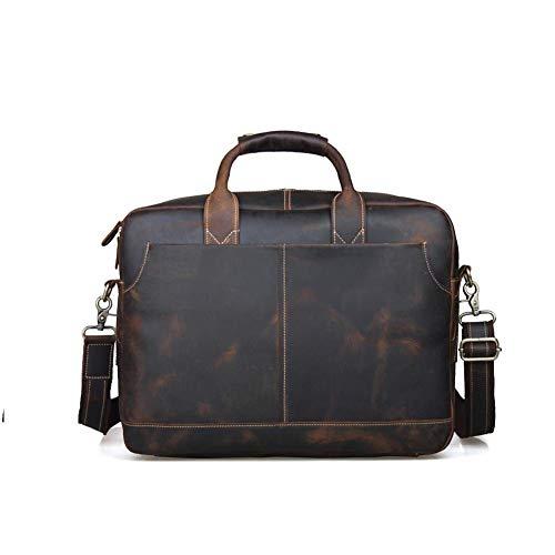 Herren Messenger Bag Computer Aktentasche Notebook Vintage Tasche Taschen Herren Wasserdicht 15.6 Crazy Horse Skin Laptop Schule Arbeit Braun
