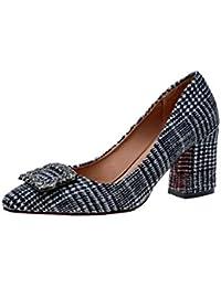6c5b96da Xue Qiqi A la luz de la punta de la bota de color retro solo zapatos  gruesos con los zapatos de tacón alto, con…